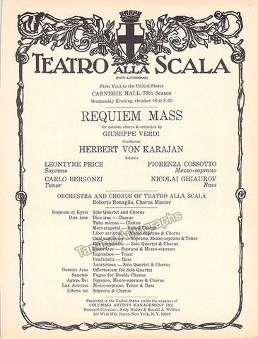 Karajan, Herbert von - Verdi´s Requiem Mass Program - Carnegie Hall 1967