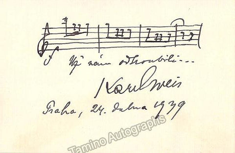 Weis, Karel - Autograph Music Quote 1939