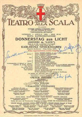 Stockhausen, Karlheinz - Eotvos, Peter - Perry, Paul - Signed Playbill Teatro La Scala 1981