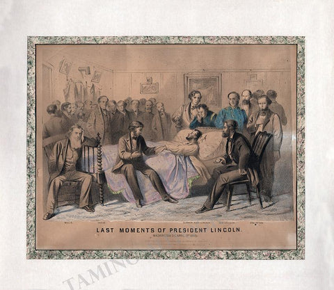Last Moments of President Lincoln - Matted Lithograph 1865