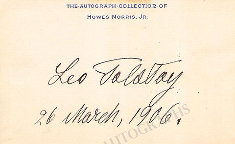 Tolstoi, Leo - Signed Card 1906