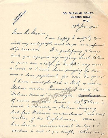 Gowings, Leonard - Autograph Letter Signed 1935