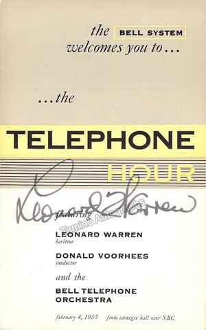 Warren. Leonard - Signed Program 1957