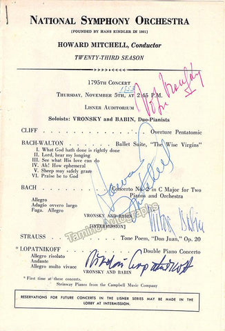 Vronsky, Vitya - Babin, Victor - Lopatnikoff, Nikolai - Mitchell, Howard - Signed Page Program Washington 1953