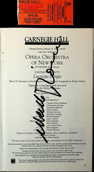 Carnegie Hall - Signed Opera Programs 1998-2000 (Various Autographs)