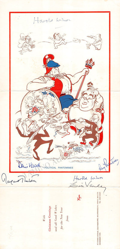 Thatcher, Margaret - Howell, Denis - Varley, Eric - Prentice, Reg - Christmas Card signed by all