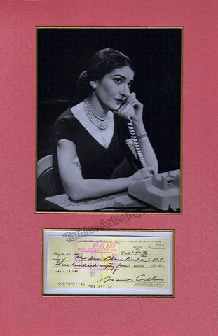 Callas, Maria - Signed Check and Photo