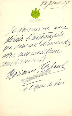 Flahaut, Marianne - Autograph Note Signed + Photo 1909