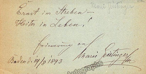Geistinger, Marie - Autograph Note Signed 1893