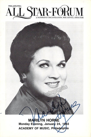Horne, Marilyn - Signed Program Philadelphia 1983