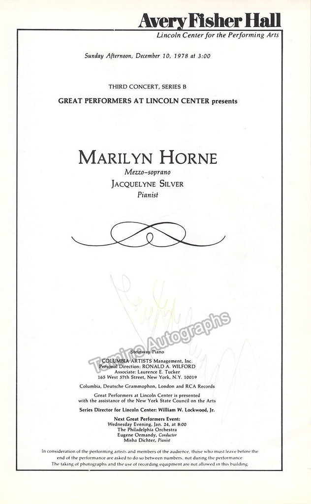 Horne, Marilyn - Signed Program 1970