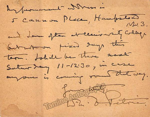 Flinders Petrie, Sir William Matthew - Autograph Note Signed