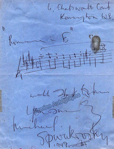 Spivakovsky, Michel - Autograph Music Quote Signed 1949