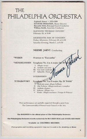 Jarvi, Neeme - Signed Program Philadelphia 1980