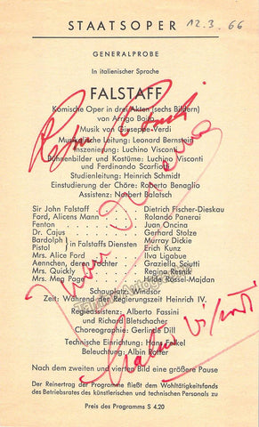 Visconti, Luchino - Resnik, Regina - Oncina, Juan - Triple Signed Program Falstaff 1966