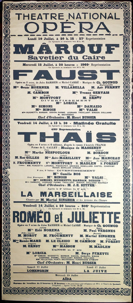 Theatre National Opera - Paris - Set of 4 Posters 1937