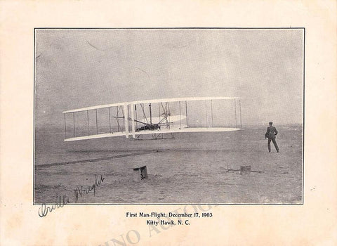 Wright, Orville - Signed Photo of First Plane 1903