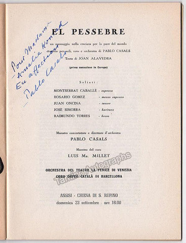 Casals, Pablo - Signed Program El Pessebre Oratorio