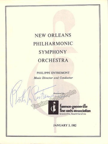 Entremont, Philippe - Signed Program New Orleans 1982
