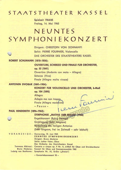 Fournier, Pierre - Signed Program Kassel, Germany 1965