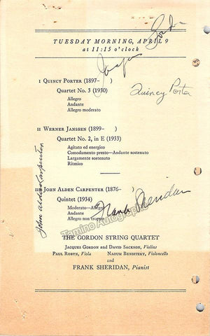 Porter, Quincy - Carpenter, John - Sheridan, Frank - Gordon, Jacques - Signed Program Washington 1935