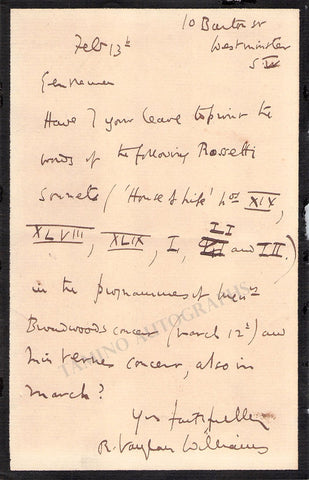 Vaughan Williams, Ralph - Autograph Letter Signed ca.1903