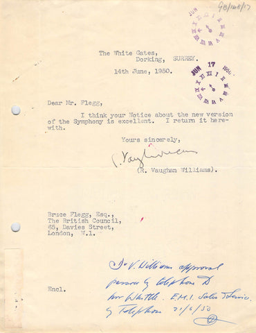 Vaughan Williams, Ralph - Typed Letter Signed 1950