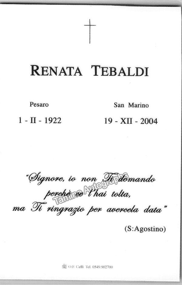 Tebaldi, Renata - Funeral Epitaph with Unsigned Photo