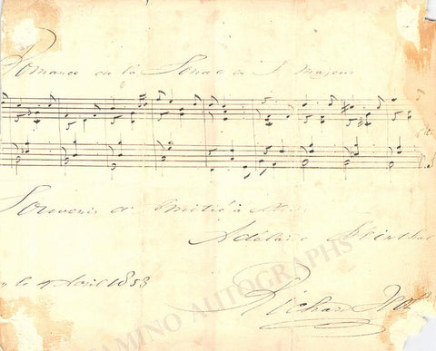 Hol, Richard - Autograph Music Quote Signed 1853