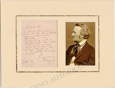 Wagner, Richard - Autograph Letter Signed 1870 + Photo