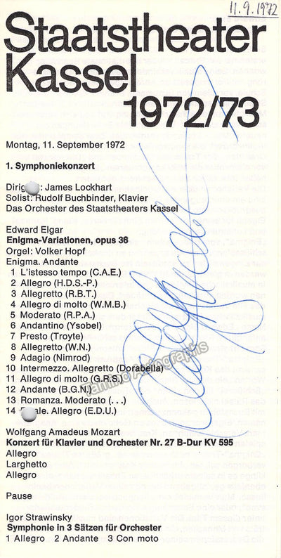 Buchbinder, Rudolf - Signed Program Gottingen 1972