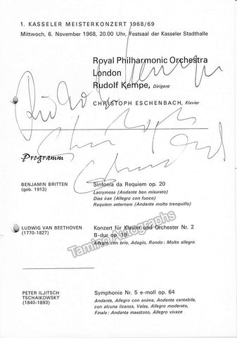 Kempe, Rudolf - Eschenbach, Christoph - Signed Program Kassel, Germany 1972