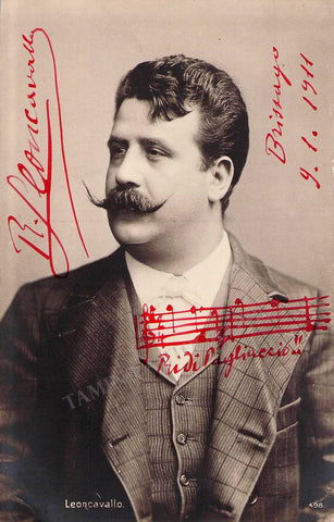 "Leoncavallo, Ruggero - Signed Photo with ""Ridi, Pagliaccio"" Music Quote 1911"