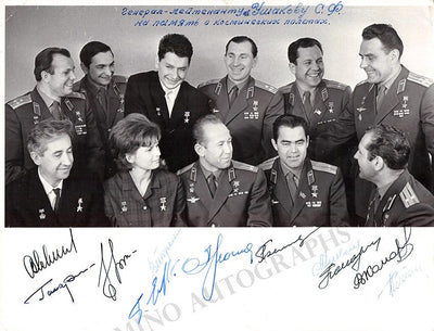 First Soviet Cosmonauts - Photo signed by 11 Russian Space Pioneers!