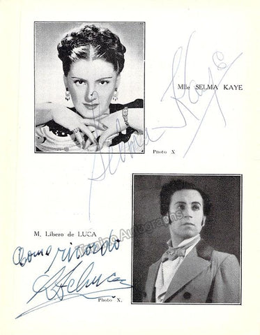 Kaye, Selma - De Luca, Libero - Double Signed Program
