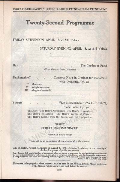 Rachmaninov, Sergei - Concert Program Boston 1925