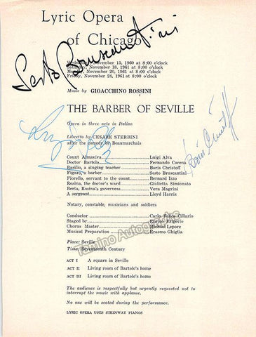 Bruscantini, Sesto - Alva, Luigi - Christoff, Boris - Signed Cast Page Chicago 1960-61