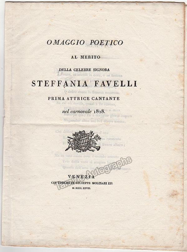 Favelli, Stefania - Vintage Lithograph and Program 1828
