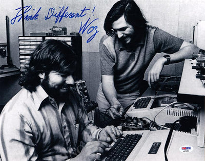 "Wozniak, Steve (Woz) - Large ""Think Different"" Signed Photo with Steve Jobs"