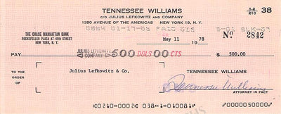 Williams, Tennessee - Signed Check 1978