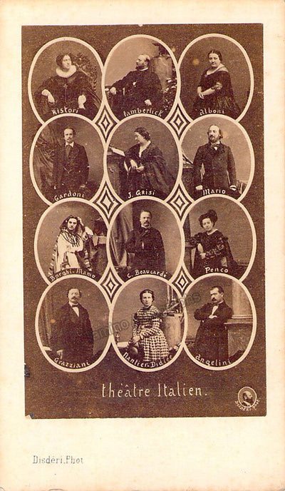 Theatre Italien in Paris - CDV Collage of several nineteenth century performers