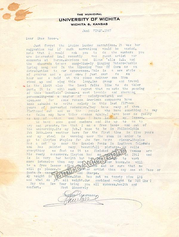 Lieurance, Thurlow - Typed Letters Signed 1947