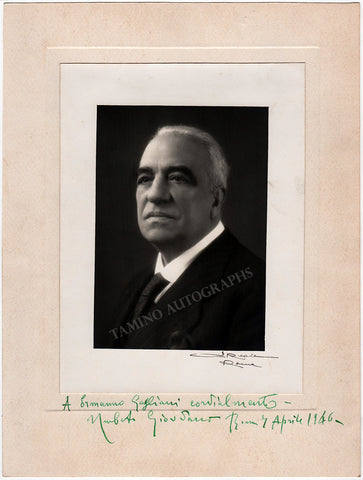 Giordano, Umberto - Large Signed Photo 1946