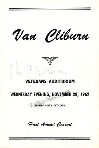 Cliburn, Van - Signed Program Ohio 1962