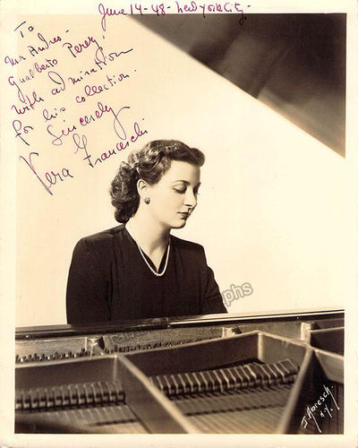 Franceschi, Vera - Signed Photo at the Piano 1948