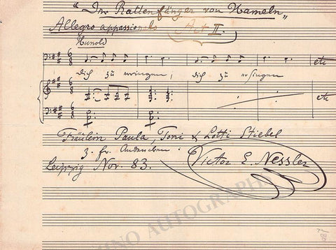Nessler, Victor - Autograph Music Quote Signed 1883