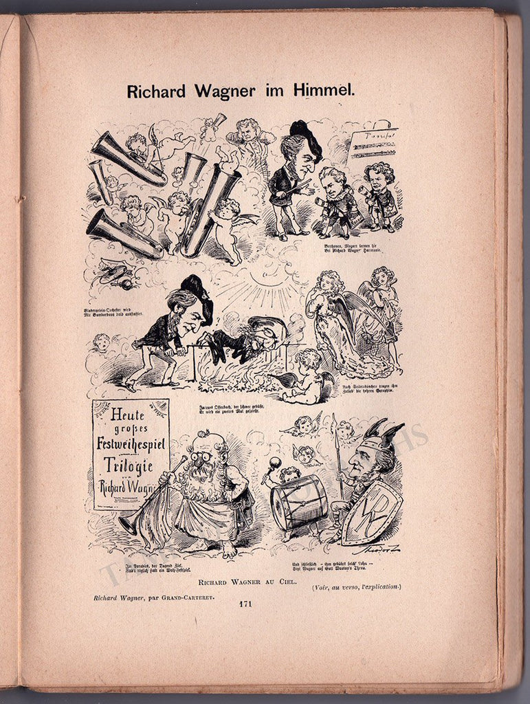 Wagner in Caricatures - Signed by Author John Grand-Carteret 1893