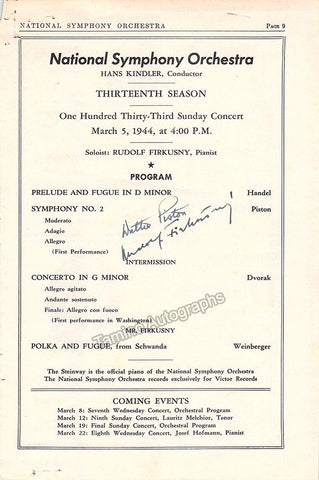 Piston, Walter - Firkusny, Rudolf - Signed Page Program Washington 1944