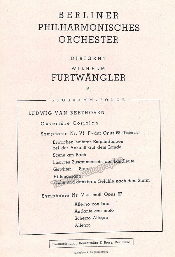 Furtwangler, Wilhelm - Signed Program 1949