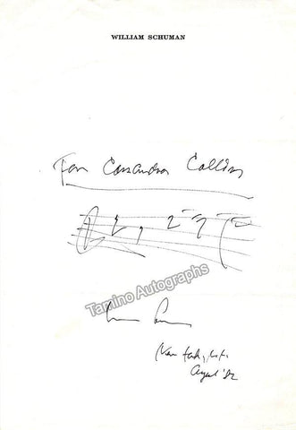 Schuman, William - Autograph Music Quote Signed 1982